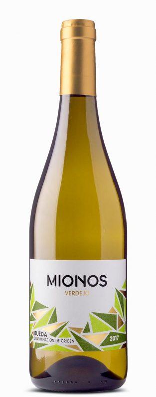 Botella y etiqueta del vino Mionos