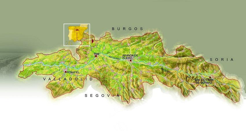 Mapa Denominación de origen Ribera del Duero